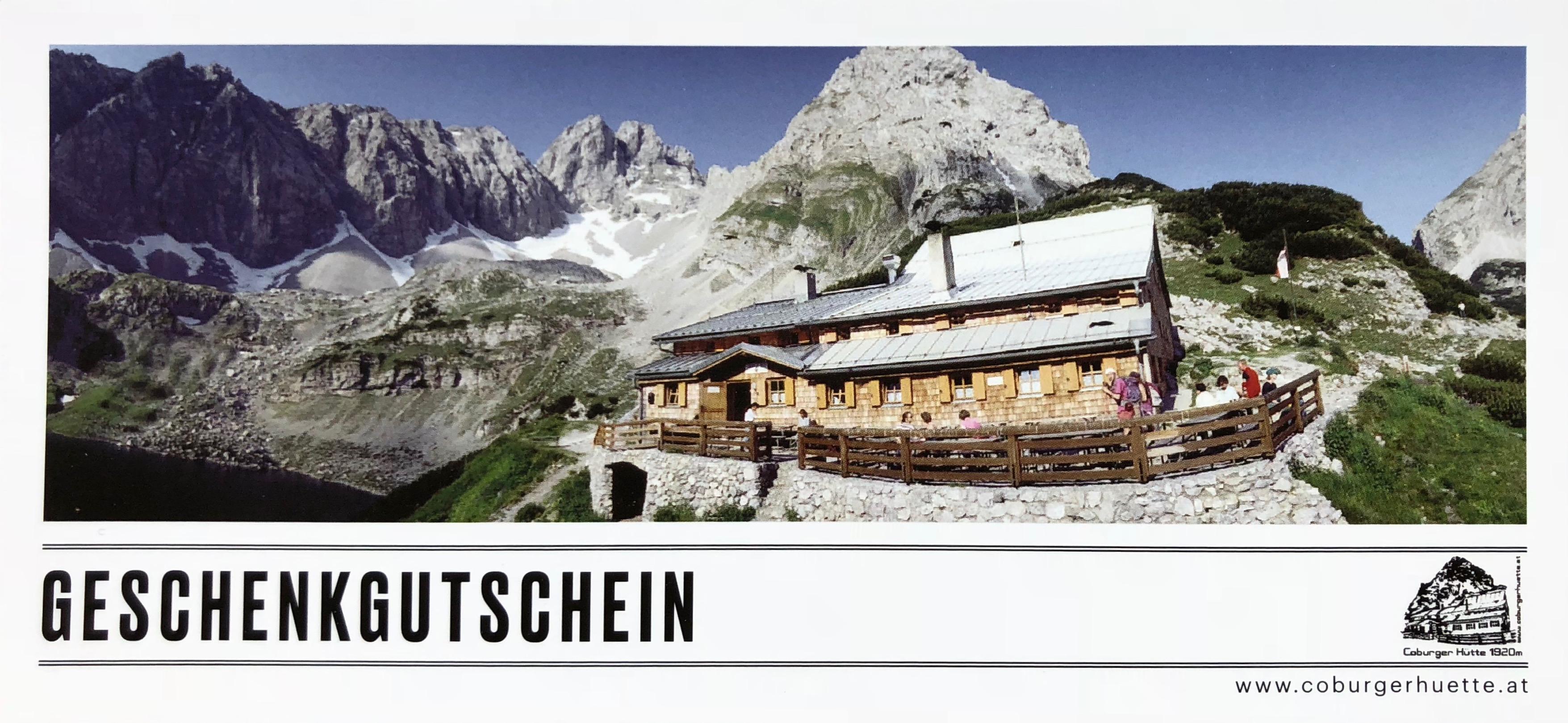 Geschenkgutschein Coburger Hütte Ehrwald Tirol