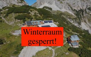 Coburger Hütte Tirol Ehrwald Winterraum Coronavirus